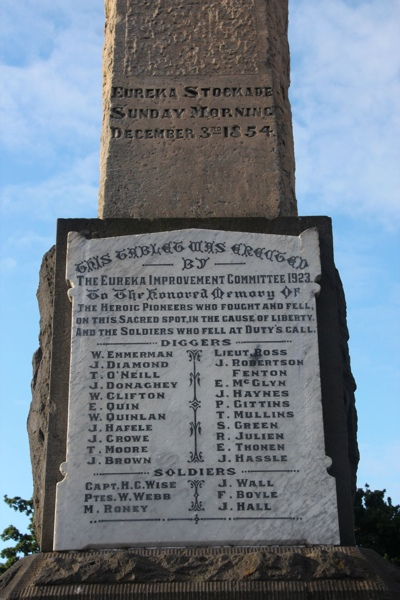 Monument erected to the miners and soldiers killed at Eureka