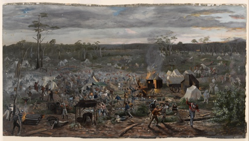This print by Beryl Ireland from the 1890s illustrates the battle graphically, portraying it as a violent massacre